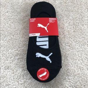Puma black three pack no show shoe liner sock